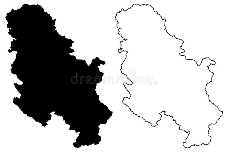 塞尔维亚地图传染媒介 库存例证