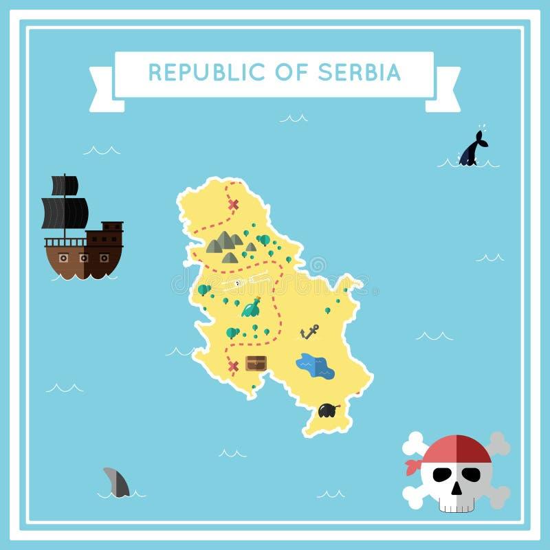 塞尔维亚的平的珍宝地图 皇族释放例证