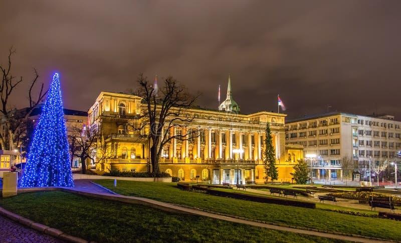 塞尔维亚的总统办公室在晚上 免版税库存图片