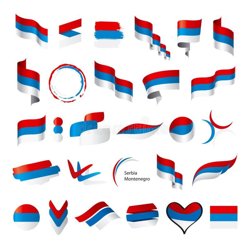 塞尔维亚黑山的传染媒介旗子的汇集 皇族释放例证