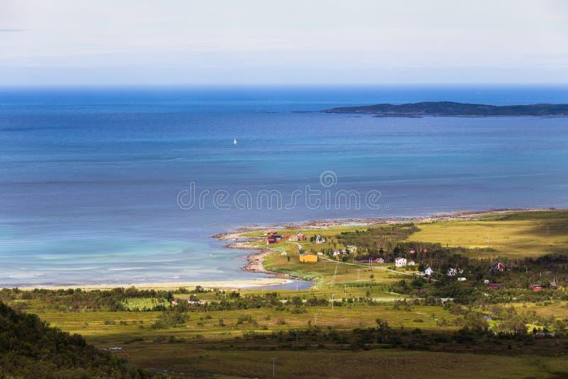 从塞尼亚岛海岛,挪威的全景 图库摄影