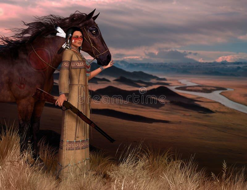 塞恩美洲印第安人妇女例证 向量例证
