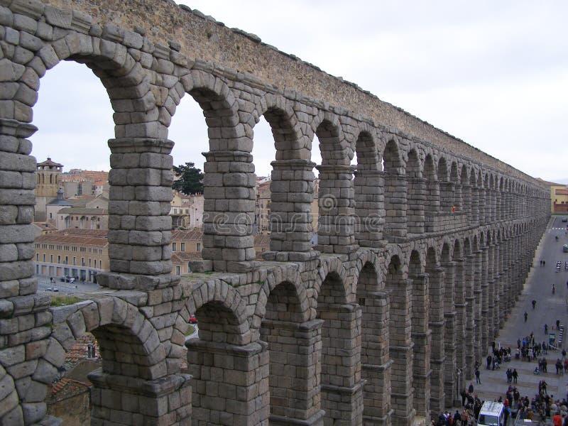 塞戈维亚西班牙罗马古老渡槽 免版税库存图片