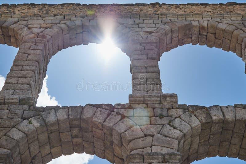 塞戈维亚,卡斯蒂利亚利昂,西班牙渡槽的看法  库存图片