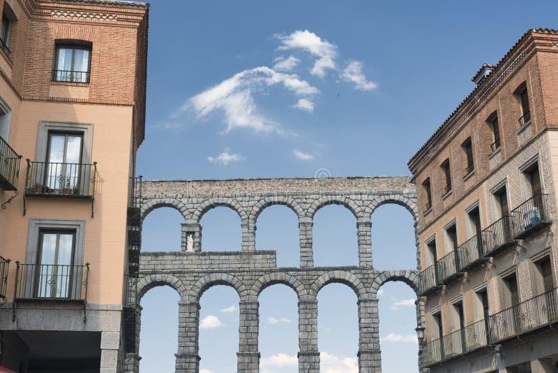 塞戈维亚西班牙:罗马渡槽 免版税库存图片