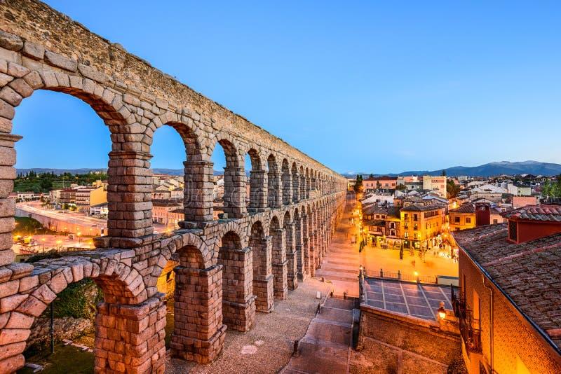塞戈维亚,西班牙古老罗马渡槽 图库摄影
