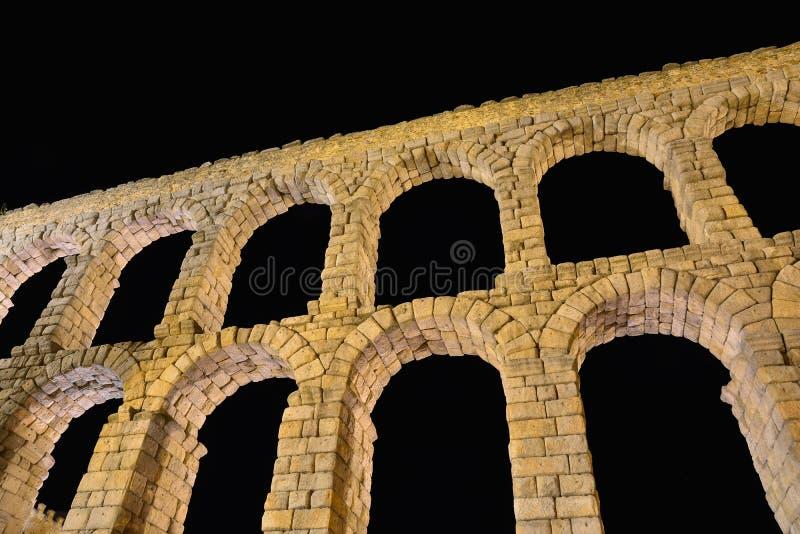 塞戈维亚,西班牙渡槽夜视图  免版税库存照片