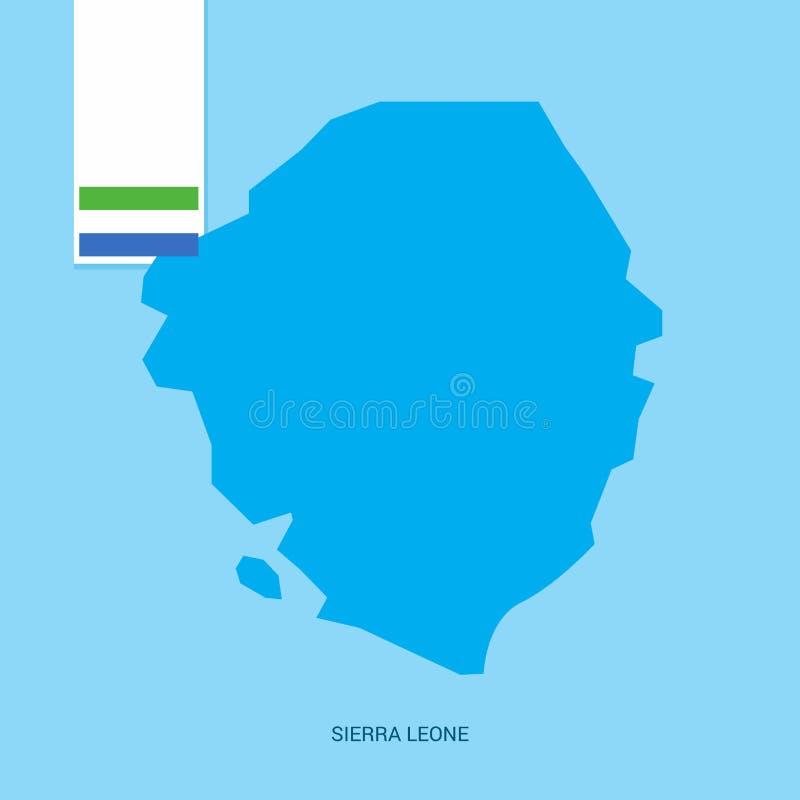 塞拉利昂与旗子的国家地图在蓝色背景 皇族释放例证