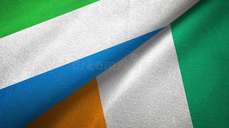 塞拉利昂和科特迪瓦象牙海岸两旗子织物纹理 库存例证