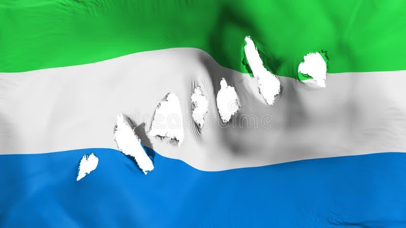 塞拉利昂旗子穿孔了,弹孔 免版税库存图片