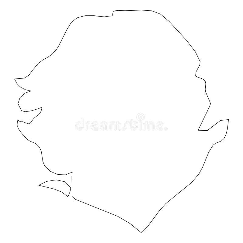 塞拉利昂-国家区域坚实黑概述边界地图  简单的平的传染媒介例证 向量例证