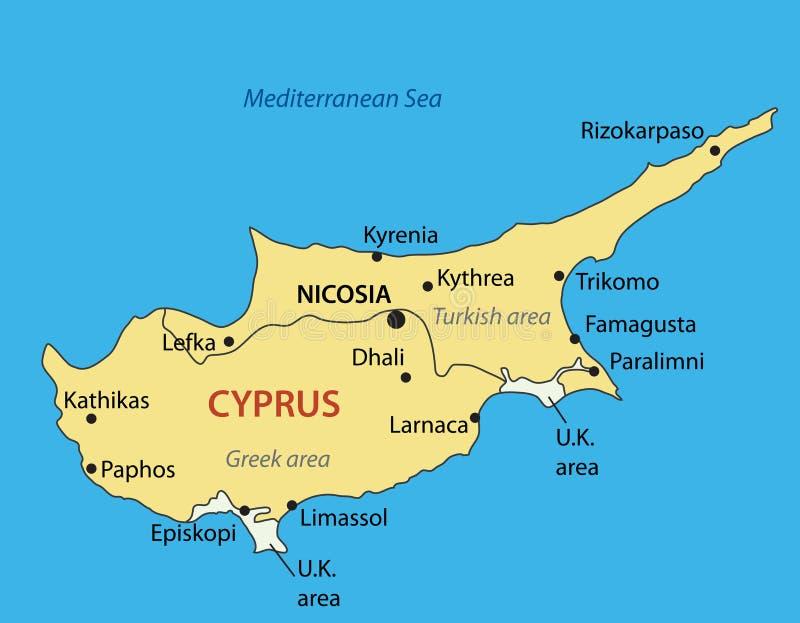 塞浦路斯共和国-传染媒介地图 向量例证