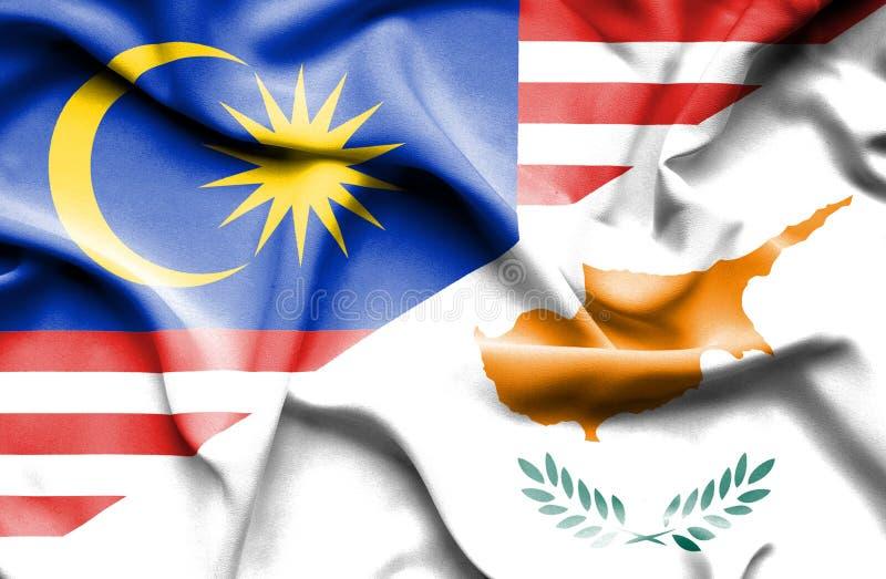 塞浦路斯和马来西亚的挥动的旗子 皇族释放例证