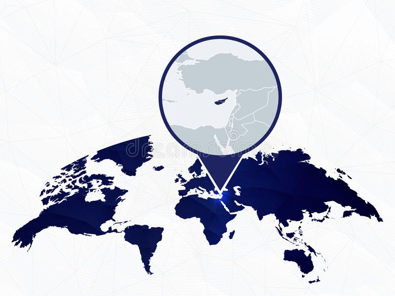 塞浦路斯在蓝色被环绕的世界地图详述了地图突出了 皇族释放例证