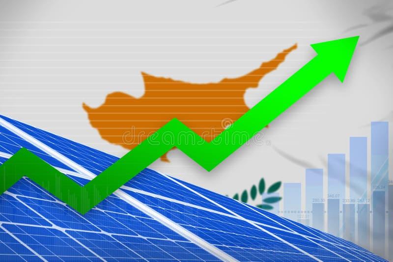 塞浦路斯太阳能力量上升的图,-环境自然能工业例证的箭头 3d例证 库存例证