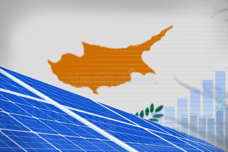 塞浦路斯太阳能力量数字图表概念-环境自然能工业例证 3d例证 向量例证
