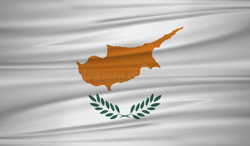 塞浦路斯旗子传染媒介 导航塞浦路斯blowig旗子在风的 皇族释放例证