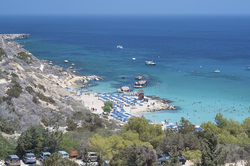 塞浦路斯海滩普罗塔拉斯地区欧洲 免版税库存照片