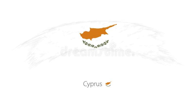 塞浦路斯的旗子被环绕的难看的东西刷子冲程的 库存例证