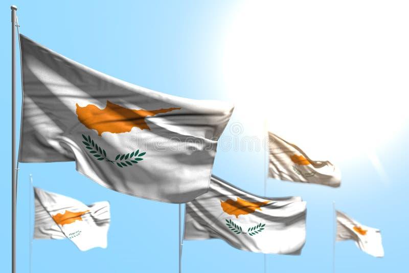 塞浦路斯美妙的5面旗子挥动反对与bokeh -所有宴餐旗子3d例证的天空蔚蓝例证 向量例证