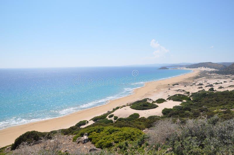 塞浦路斯金黄沙子, Karpass半岛,地中海,欧洲 库存图片