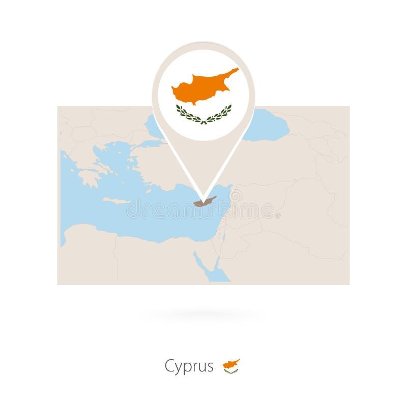 塞浦路斯长方形地图与塞浦路斯别针象的  库存例证