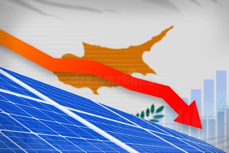 塞浦路斯降低图,在-环境自然能工业例证下的箭头的太阳能力量 3d例证 库存例证