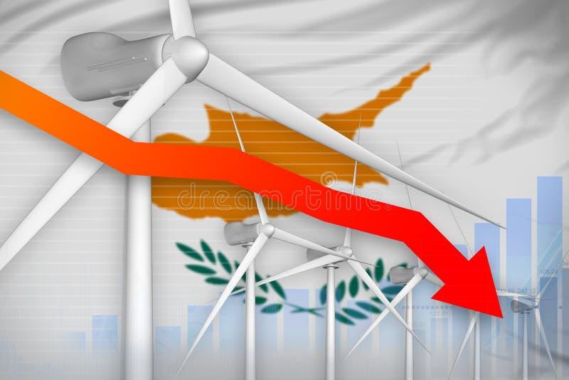 塞浦路斯降低图,在-环境自然能工业例证下的箭头的风能力量 3d例证 向量例证