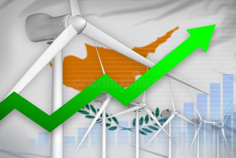塞浦路斯风能力量上升的图,-环境自然能工业例证的箭头 3d例证 库存例证