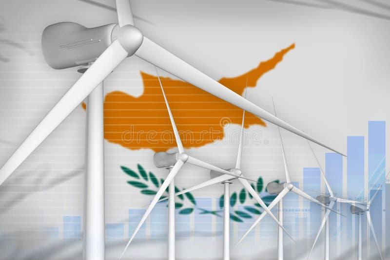 塞浦路斯风能力量数字图表概念-绿色自然能工业例证 3d例证 库存例证