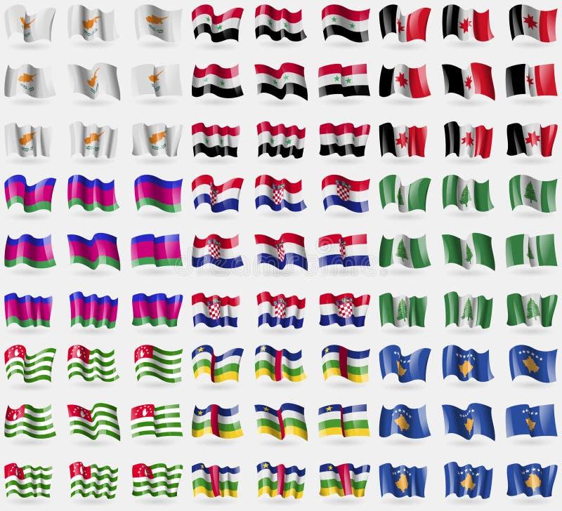 塞浦路斯,叙利亚,乌德穆尔特共和国,库班河州农业大学共和国,克罗地亚,诺福克岛,阿布哈兹,中非共和国,科索沃 大套81面旗子 库存例证