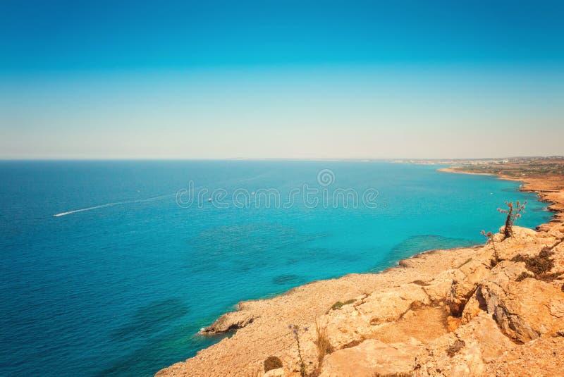 塞浦路斯Ayia Napa,海角格雷科半岛,全国森林公园 免版税库存图片
