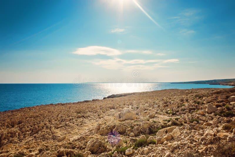 塞浦路斯Ayia Napa,海角格雷科半岛,全国森林公园 免版税库存照片
