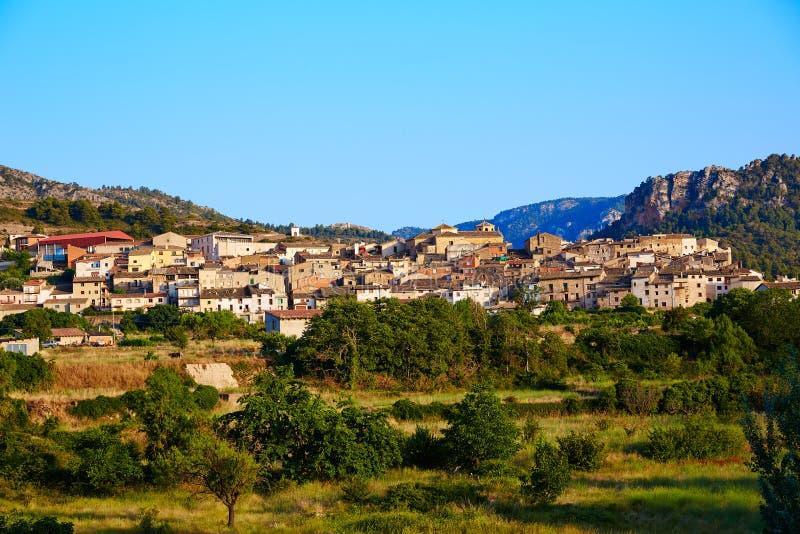 贝塞特村庄在特鲁埃尔省西班牙在Matarrana 库存图片