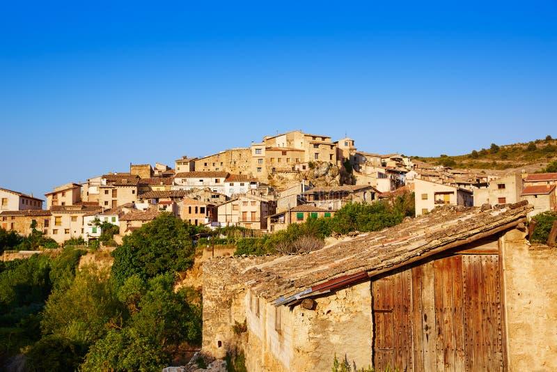 贝塞特村庄在特鲁埃尔省西班牙在Matarrana 免版税库存照片