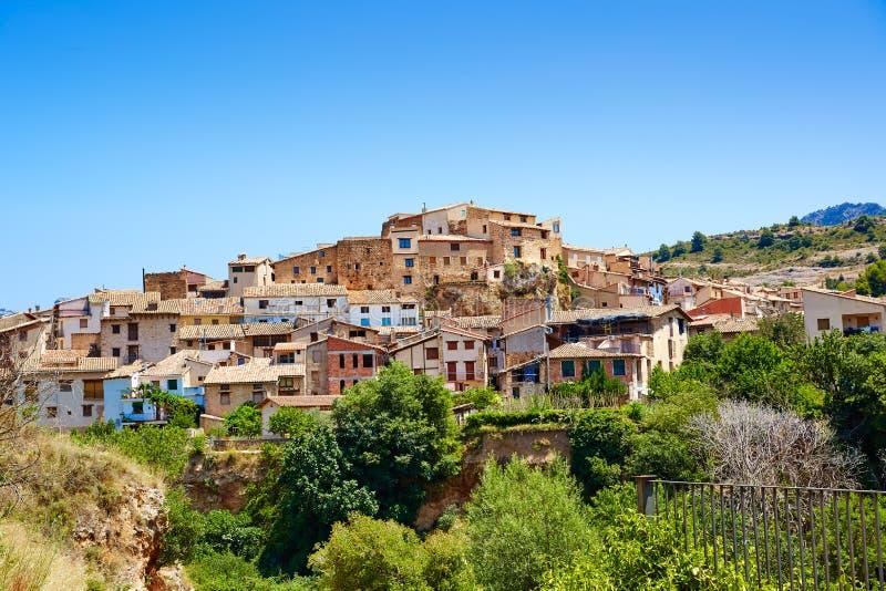 贝塞特村庄在特鲁埃尔省西班牙在Matarrana 免版税图库摄影