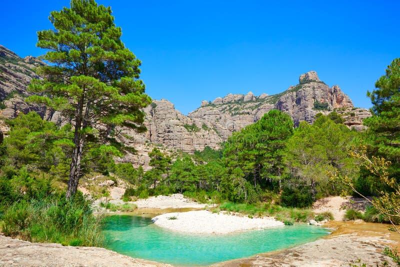 贝塞特河Ulldemo在特鲁埃尔省西班牙 库存照片