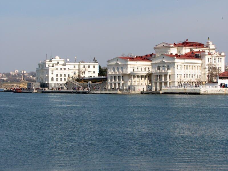 塞瓦斯托波尔市的堤防。 免版税库存照片