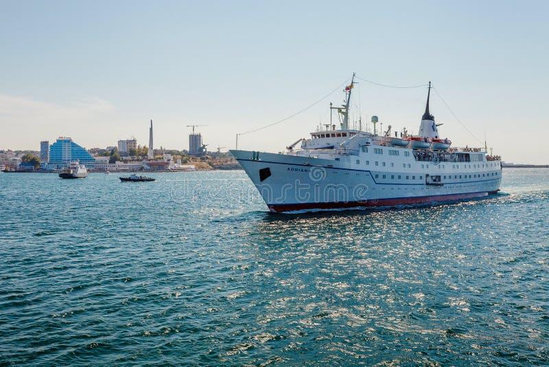 塞瓦斯托波尔,乌克兰- 8月24 船艾德里安娜 库存图片