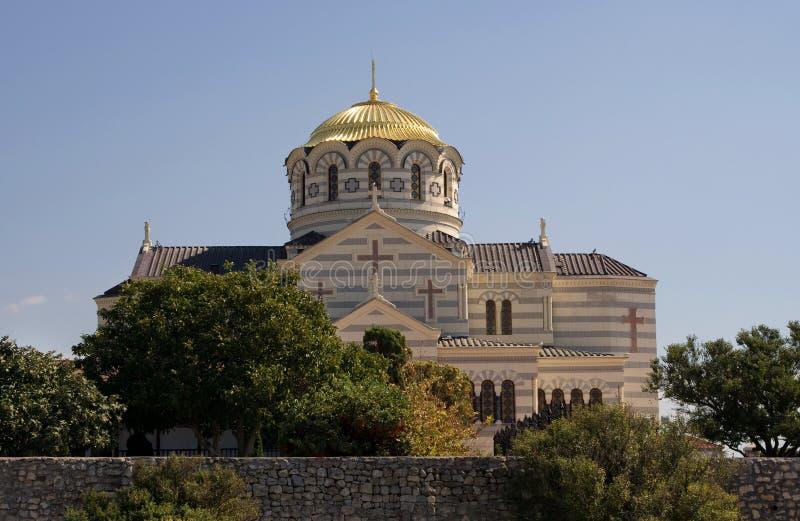 塞瓦斯托波尔,克里米亚, - 2011年9月18日:圣徒大教堂  免版税库存照片
