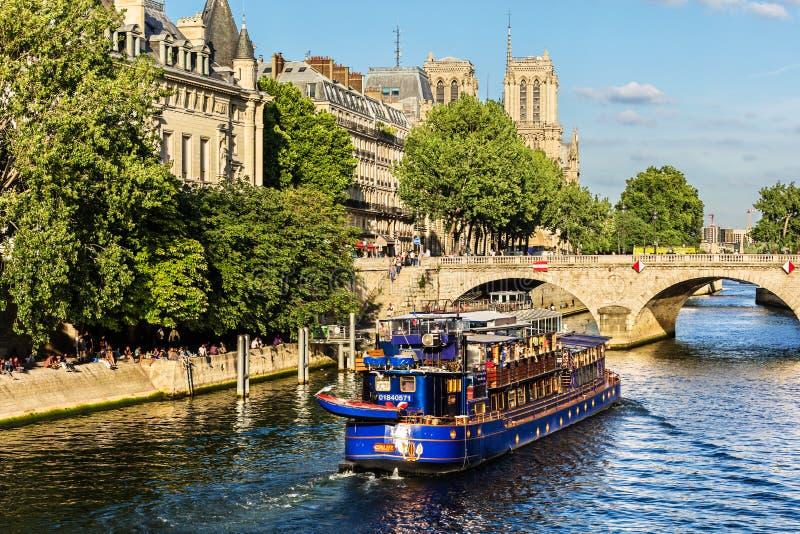 塞纳河和巡航游览小船和巴黎圣母院Cathed 免版税图库摄影