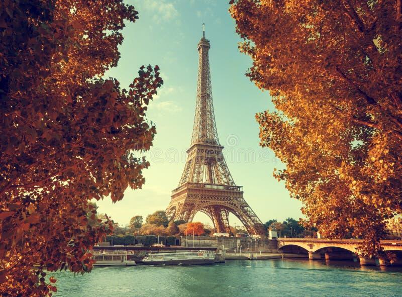 塞纳河在有埃佛尔铁塔的巴黎在秋天时间 免版税库存图片