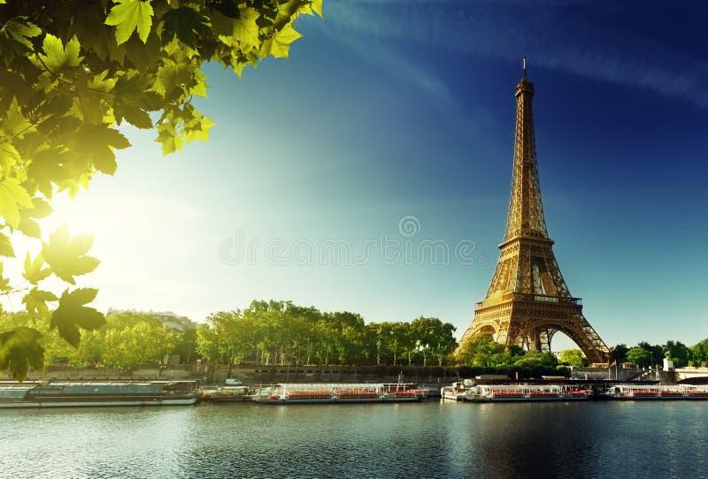 塞纳河在有埃佛尔铁塔的巴黎 库存照片
