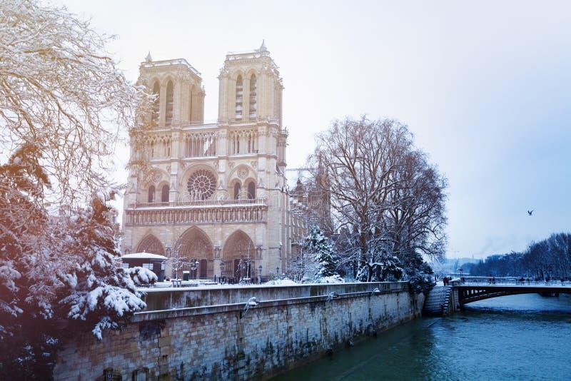 塞纳河堤防和Notre Dame在雪 免版税库存图片