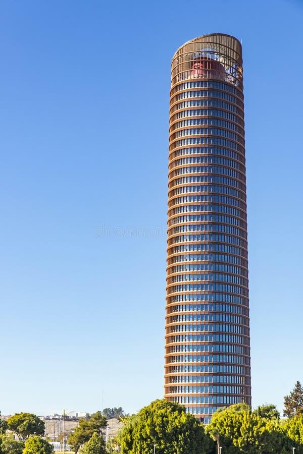 塞维利亚塔,办公室摩天大楼在塞维利亚市,西班牙 免版税图库摄影