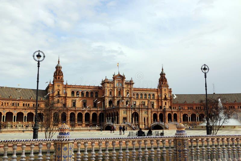 塞维利亚西班牙 西班牙正方形, Plaza de西班牙 图库摄影