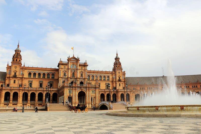 塞维利亚西班牙 西班牙正方形, Plaza de西班牙 库存图片
