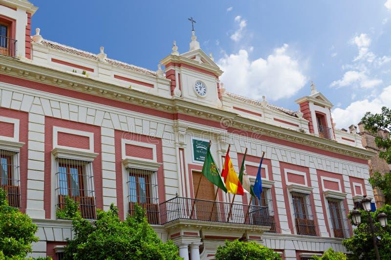 塞维利亚,西班牙的历史建筑和纪念碑 西班牙建筑风格哥特式和Mudejar,巴洛克式 图库摄影