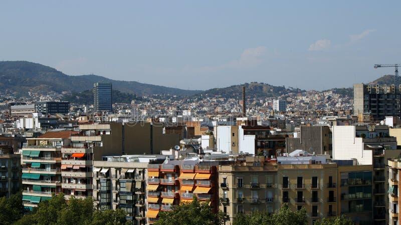 巴塞罗那住宅屋顶  免版税库存图片