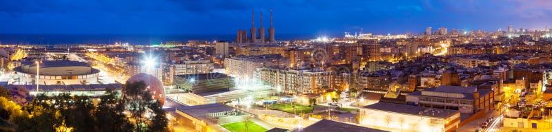 巴塞罗那全景夜视图。卡塔龙尼亚 免版税库存图片